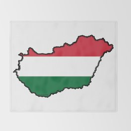 Hungary Map with Hungarian Flag Throw Blanket