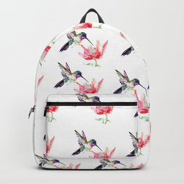 Little Hummingbird and Pink Flower, Bird art, minimalist bird painting, soft pink olive green design Backpack