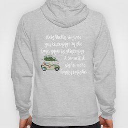 Vintage Christmas car with tree green Hoody