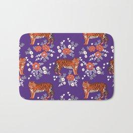 Tiger Clemson purple and orange florals university fan variety college football Bath Mat