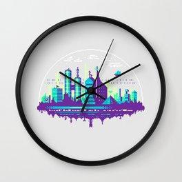 Futuristic City Pixel Art Wall Clock