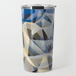 blue and grey abstract background in panorama Travel Mug