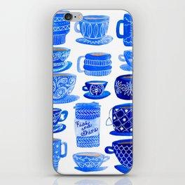 Coffee Mugs and Tea Cups - A study in blues iPhone Skin
