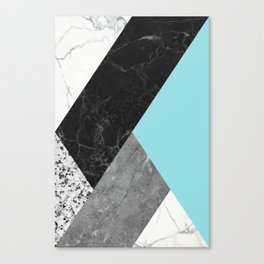 Black and White Marbles and Pantone Island Paradise Color Canvas Print