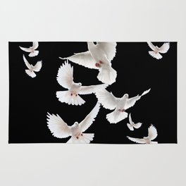 WHITE PEACE DOVES ON BLACK COLOR DESIGN ART Rug