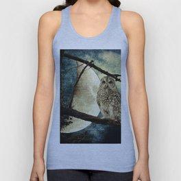 Barred Owl Bird Night Moon Blue Tans Country Art A137 Unisex Tank Top