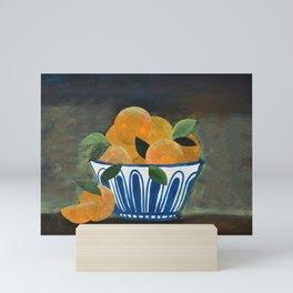 Still Life Oranges in Blue Bowl Mini Art Print