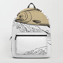 Brown Trout Waves Tattoo Backpack
