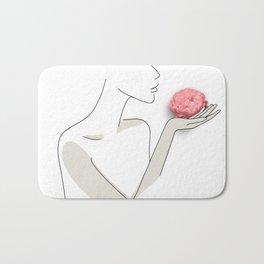 Minimal Line Art Woman with Rose Bath Mat