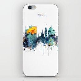 Oakland California Blue  skyline print iPhone Skin