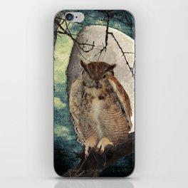 Great Horned Owl Bird Moon Tree A138 iPhone Skin