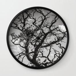 Crooked Tree Cloudy Sky Wall Clock
