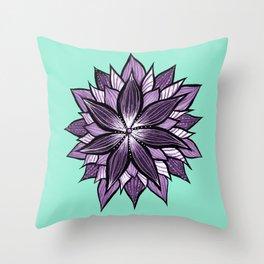 Purple Mandala Like Abstract Flower Throw Pillow