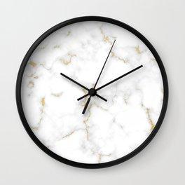 Fine Gold Marble Natural Stone Gold Metallic Veining White Quartz Wall Clock
