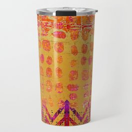 Gold and Orange Dot Abstract Art Collage Travel Mug