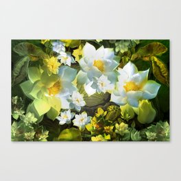 """""""White flowers forest"""" Canvas Print"""