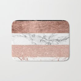 Modern chic color block rose gold marble stripes pattern Bath Mat