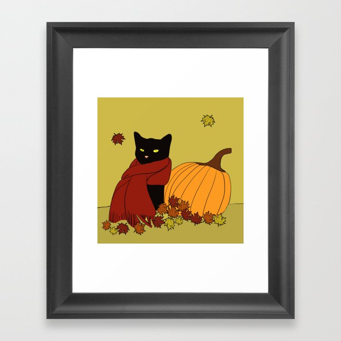 Cascade The Black Cat In Red Scarf With Pumpkin - Fall Framed Art Print