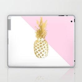 Pink white colorblock gold geometrical pineapple Laptop & iPad Skin