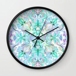 Painted Rainbow Doodles Wall Clock