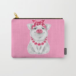Funny pig wearing bandana Carry-All Pouch