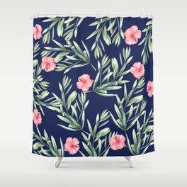 Delicate Hibiscus Blue Shower Curtain