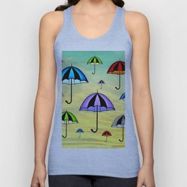Colorful umbrellas flying in the sky Unisex Tank Top