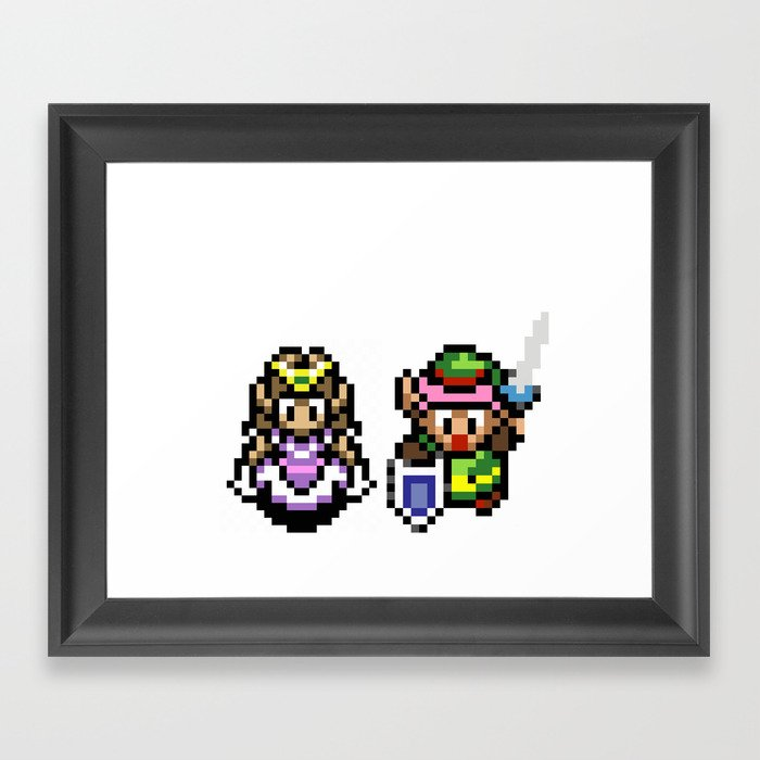 Zelda and Link Framed Art Print