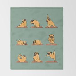 Pug Yoga Throw Blanket