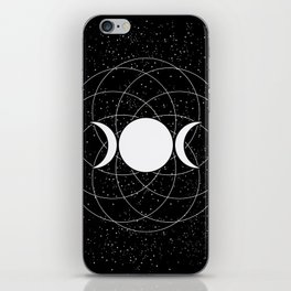 Triple Goddess Moon in Black and White iPhone Skin