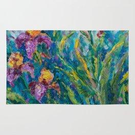 Irises in bloom Rug