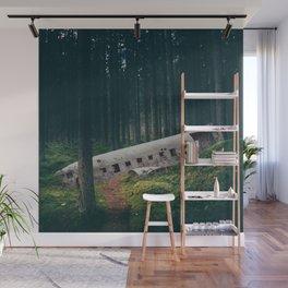 Surreal Iceland Plane Crash-Sólheimasandur Plane Crash in a Swedish Forest Wall Mural