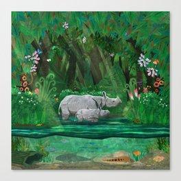 Rhinoceros mom and cub Canvas Print