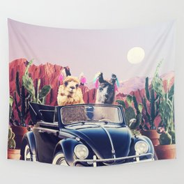 Llamas on the road Wall Tapestry