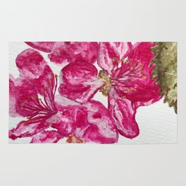Wild Pink Floral Watercolour Rug