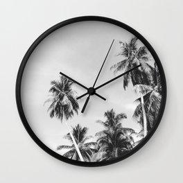 Palms Trees on the San Blas Islands, Panama - Black & White Wall Clock