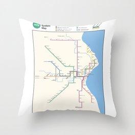 Milwaukee Transit System Map Throw Pillow