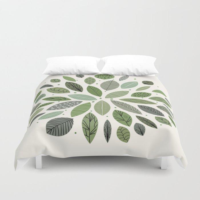 Mid-Century Green Leaves Duvet Cover