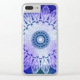 tie dye sunflower mandala in blues Clear iPhone Case