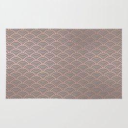 Rose gold mermaid pattern-on gray background Rug
