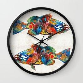 Colorful Grouper Art Fish by Sharon Cummings Wall Clock