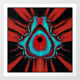 fractal in red, black and Art Print