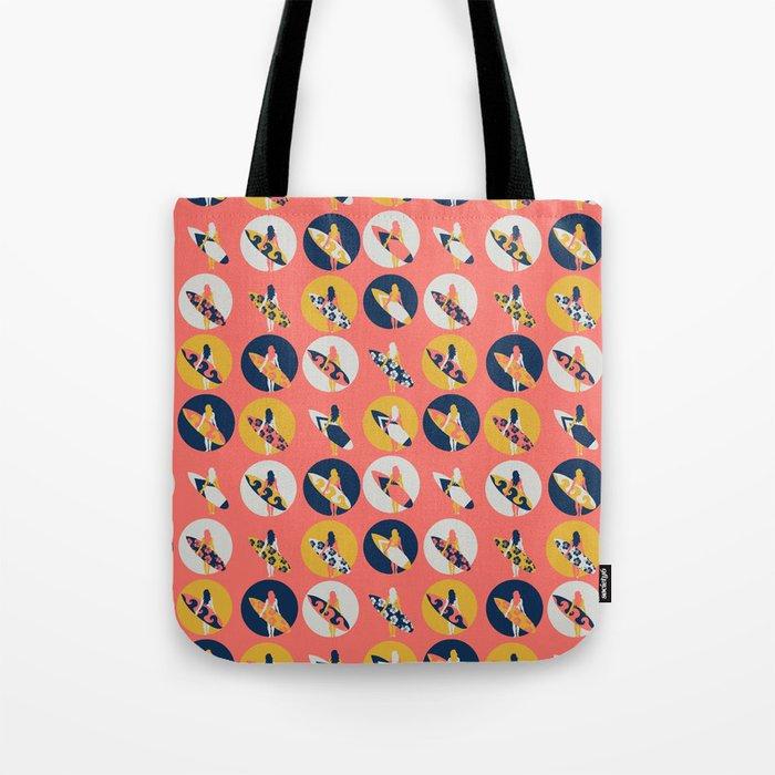 Surfer Girl Pattern Coral Tote Bag