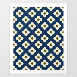 Retro Floral Pattern Scandinavian Art Print