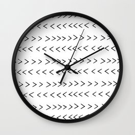 linocut Mudcloth grey and white minimal modern chevron arrows pattern gifts dorm college decor Wall Clock