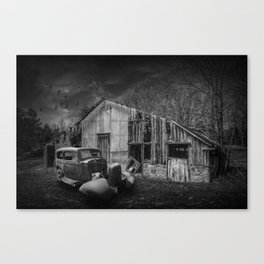 Forlorn Abandoned Rundown Farm Homestead with Rusty Vintage Auto Canvas Print