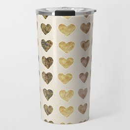 Gold and Chocolate Brown Hearts Travel Mug
