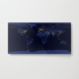 Earth at Night NASA Satellite Image Metal Print