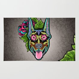 Doberman with Cropped Ears - Day of the Dead Sugar Skull Dog Rug