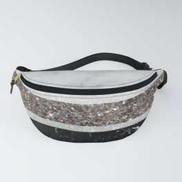 White and Black Marble Silver Glitter Stripe Glam #1 #minimal #decor #art #society6 Fanny Pack